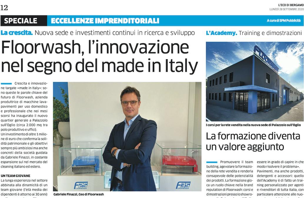 """Eco di Bergamo 28/09/2020 """"Floorwash, l'innovazione nel segno del Made in Italy"""""""